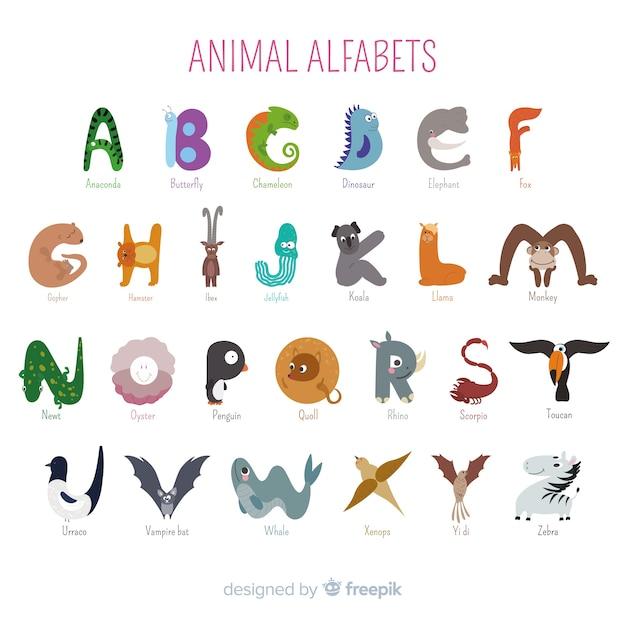 Alphabet artistique de dessin animé animaux Vecteur gratuit