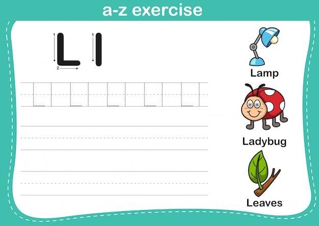 Alphabet az exercice avec illustration de vocabulaire de dessin animé Vecteur Premium