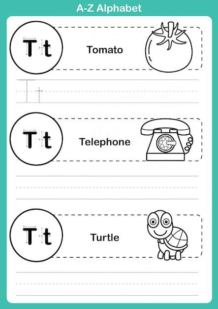 Alphabet az exercice avec vocabulaire de dessin animé pour cahier de coloriage Vecteur Premium