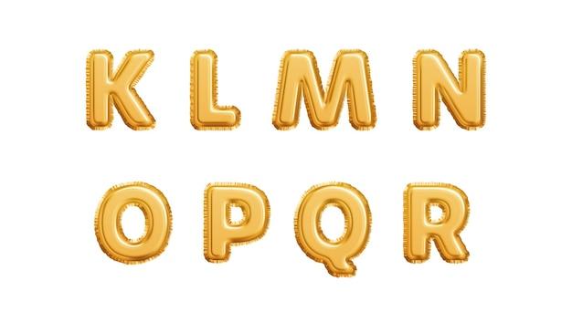 Alphabet De Ballons D'or Réaliste Isolé Sur Fond Blanc. Lettres Klmnopqr Du Vecteur Premium