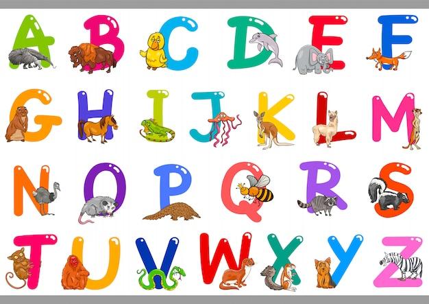 Alphabet de bande dessinée avec des personnages d'animaux Vecteur Premium
