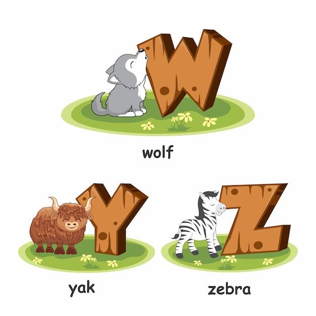 Alphabet En Bois Animaux Loup Yak Zebra Vecteur Premium