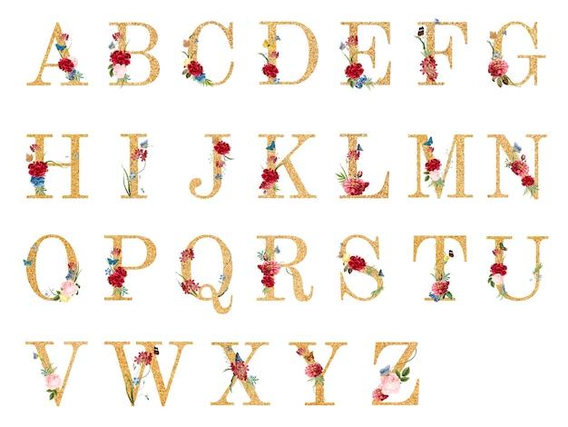 Alphabet botanique avec illustration de fleurs tropicales Vecteur gratuit