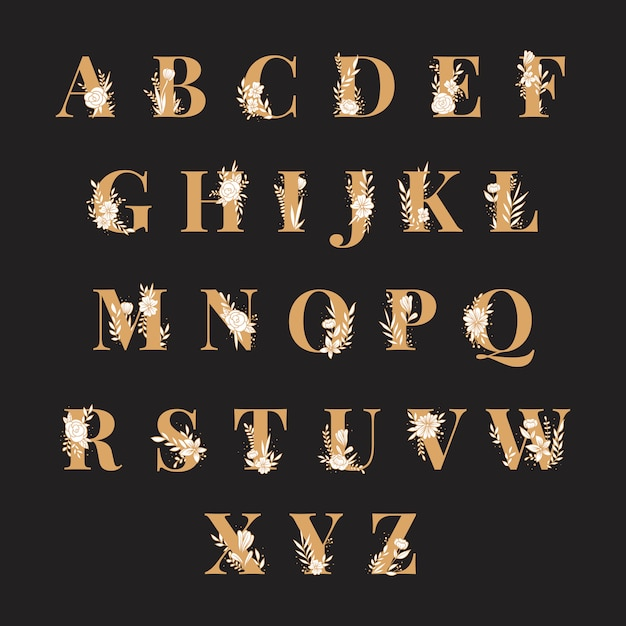 Alphabet botanique vector ensemble de lettres majuscules Vecteur gratuit
