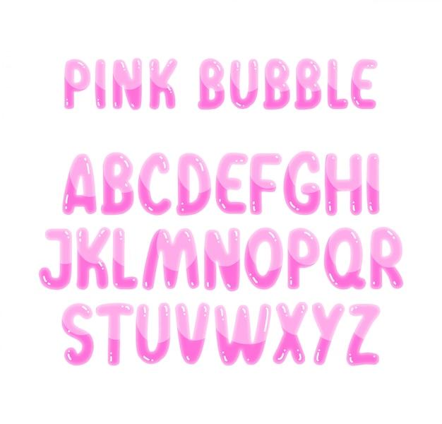 Alphabet Bulles Rose Mignon Vecteur Premium