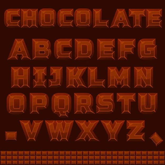Alphabet Chocolat Abc En Vecteur Vecteur Premium