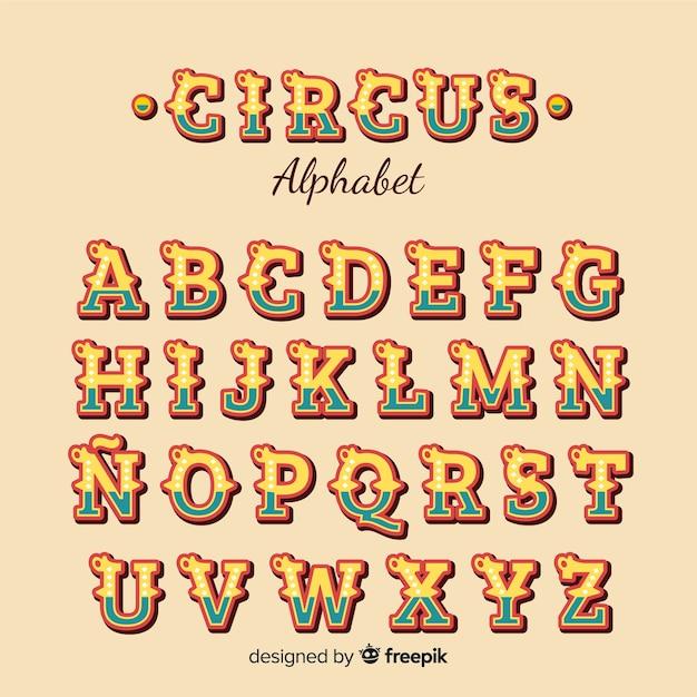Alphabet de cirque Vecteur gratuit