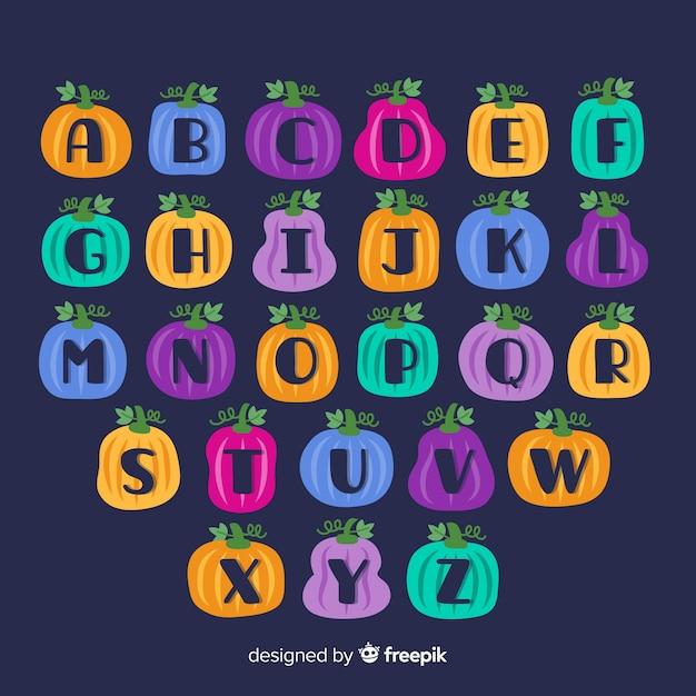 Alphabet Citrouille D'halloween Vecteur gratuit