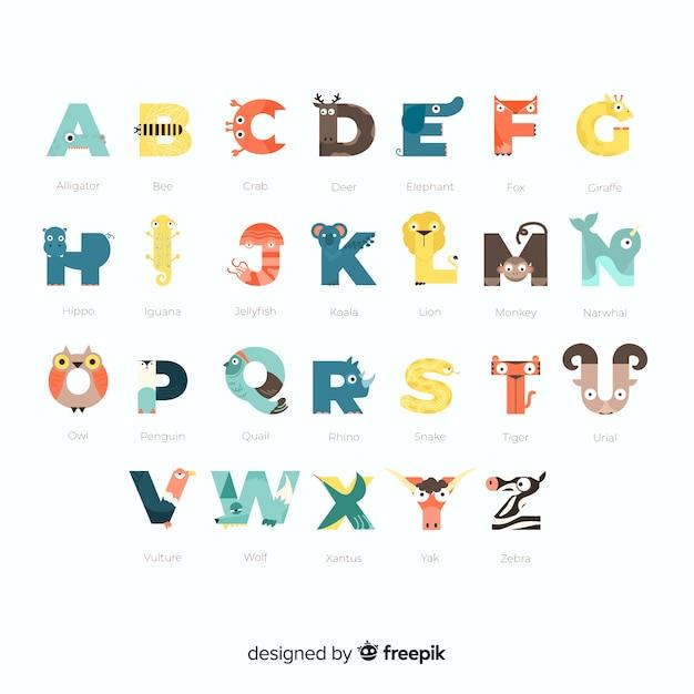 Alphabet de la collection d'animaux de la faune à l'école Vecteur gratuit