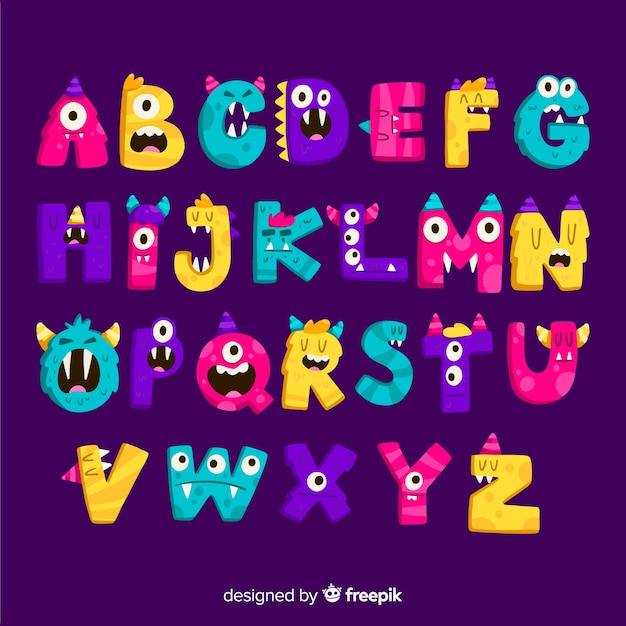 Alphabet coloré de monstre d'halloween Vecteur gratuit
