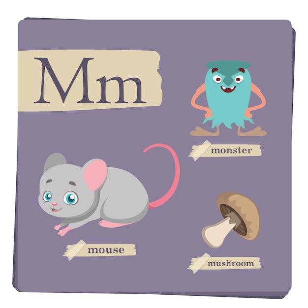 Alphabet Coloré Pour Les Enfants - Lettre M Vecteur Premium
