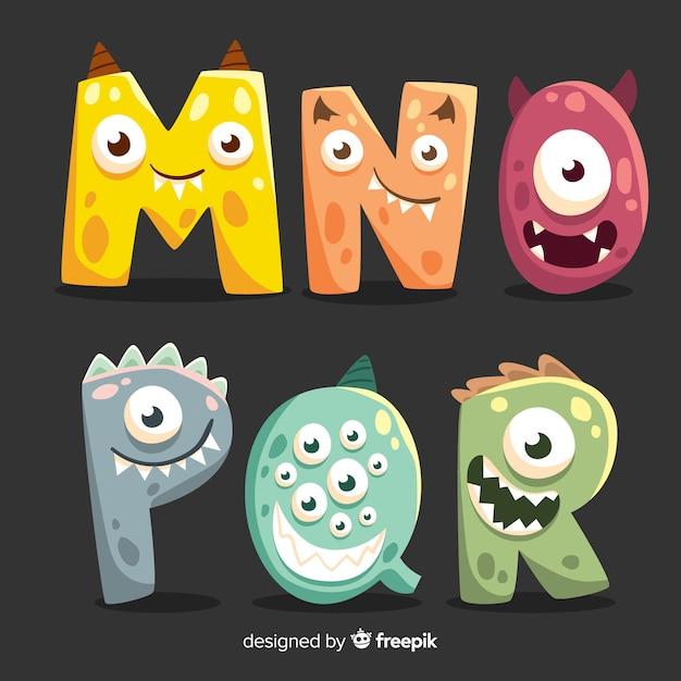Alphabet de conception de monstre halloween Vecteur gratuit