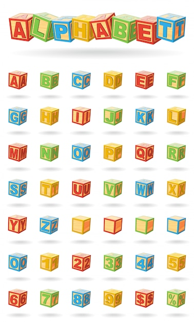 Alphabet Sur Un Cubes De Bébé. Facile à Changer Les Couleurs Et à Faire Pivoter Les Blocs. Illustration Vectorielle Sur Fond Blanc. Vecteur Premium