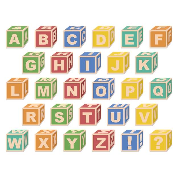 Alphabet Cubes. Vecteur Premium