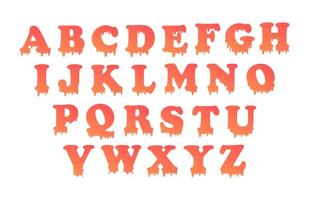 L'alphabet Dégoulinant Avec Remplissage Dégradé. Vecteur Premium