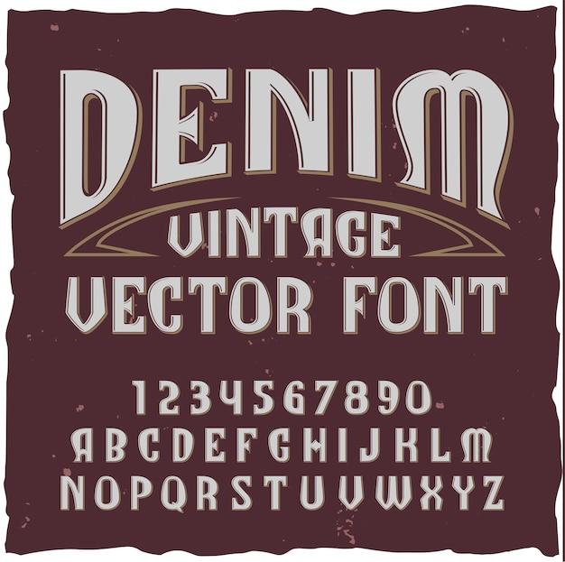 Alphabet Denim Avec Typekit De Polices De Style Vintage Avec Lettres De Chiffres Isolés Vecteur gratuit