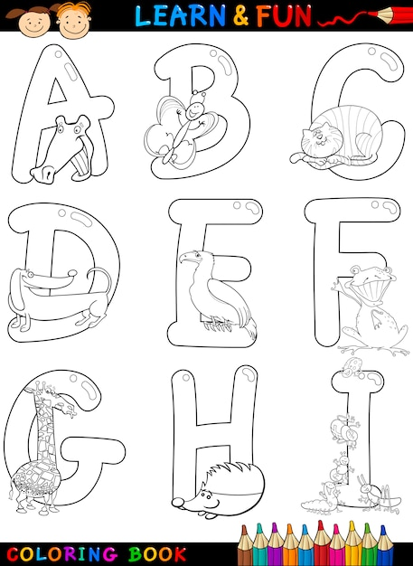 Alphabet De Dessin Animé Avec Des Animaux à Colorier ...