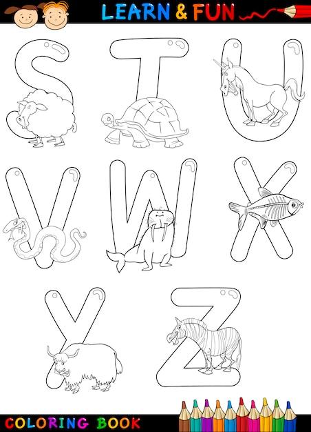 Alphabet De Dessin Anime Avec Des Animaux A Colorier Vecteur Premium