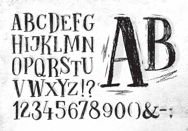 Alphabet dessiné main police crayon dessin en couleur noire sur fond de papier sale Vecteur Premium