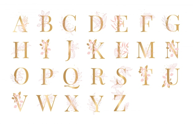 Alphabet doré floral fond illustration vecteur Vecteur Premium