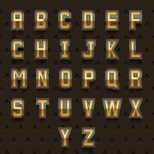 Alphabet Doré Rétro. Type Abc, Conception De Composition Brillante, Collection Royale Vecteur gratuit