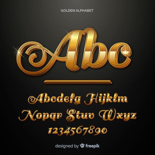 Alphabet Doré Vecteur gratuit