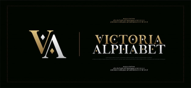 Alphabet élégant Lettres Serif Police Et Numéro Vecteur Premium