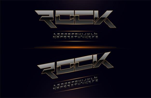 Alphabet élégant en métal argenté et doré Vecteur Premium