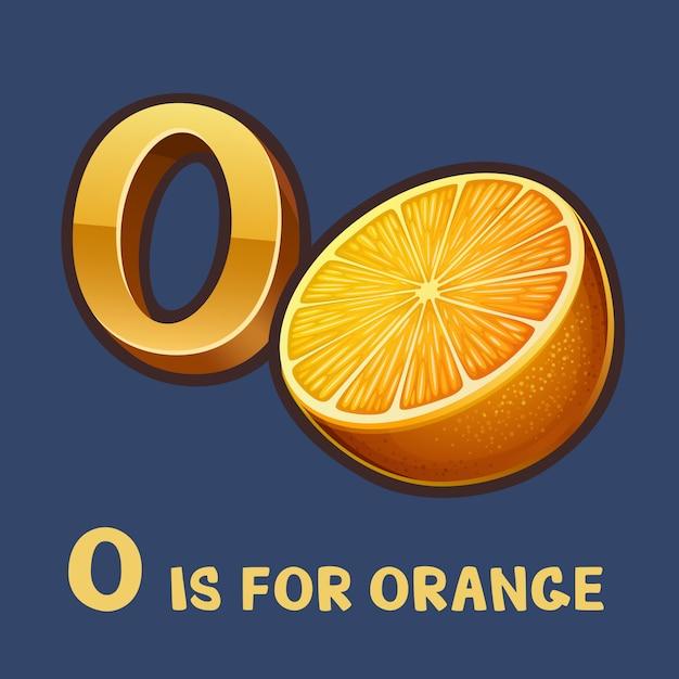 Alphabet Enfants Lettre O Et Orange Vecteur Premium