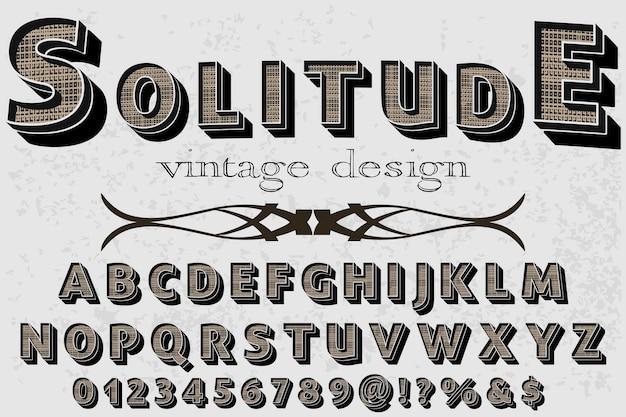 Alphabet étiquette design solitude Vecteur Premium