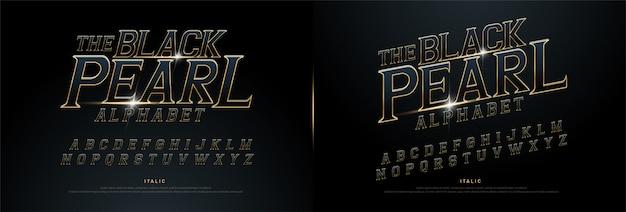Alphabet exclusif doré métallisé et effet Vecteur Premium