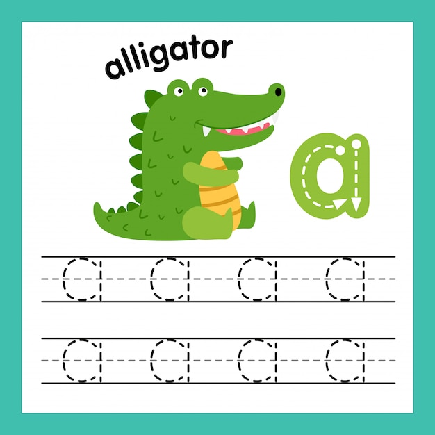 Alphabet un exercice avec illustration de vocabulaire de dessin animé Vecteur Premium