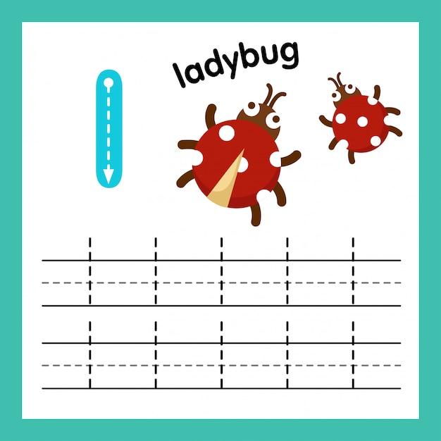 Alphabet l exercice avec illustration de vocabulaire de dessin animé Vecteur Premium