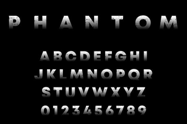 Alphabet Fantôme, Lettres Et Chiffres Avec Texture Grunge Vecteur Premium