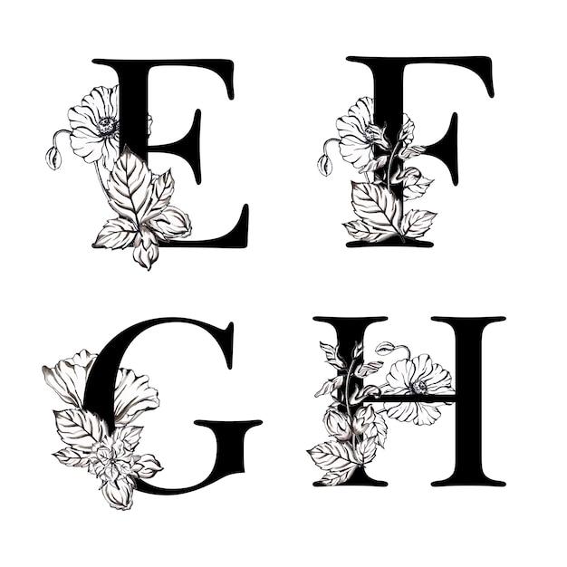 Alphabet à fleurs aquarelle noir et blanc efgh Vecteur Premium