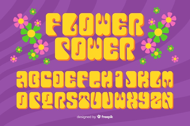Alphabet à fleurs dans le style des années 60 Vecteur gratuit