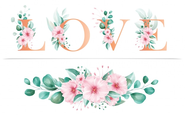 Alphabet Floral Aquarelle De Lettre D Amour Et Arrangements