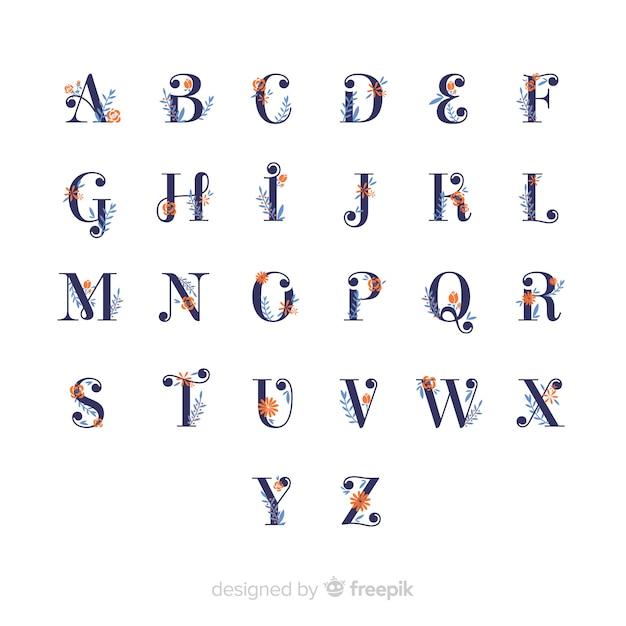 Alphabet floral plat Vecteur gratuit