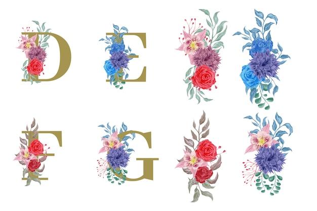 Alphabet Floral Serti D'éléments De Fleurs Aquarelles Vecteur Premium
