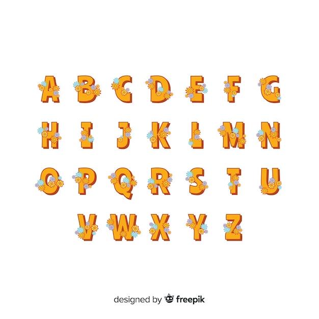 Alphabet floral style années 60 Vecteur gratuit