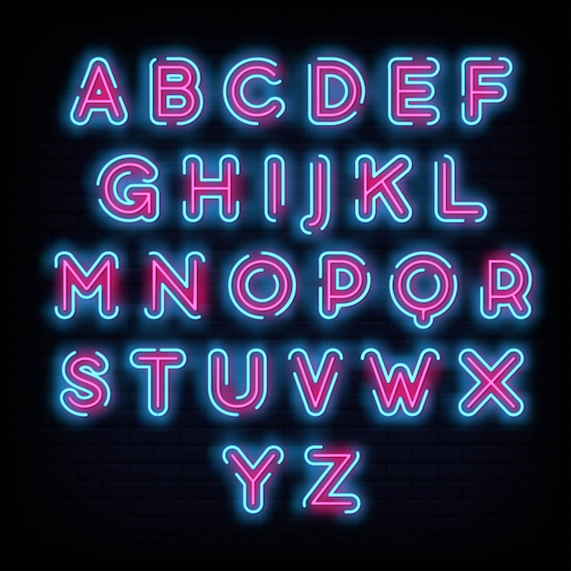 Alphabet fonte typographie neon style Vecteur Premium