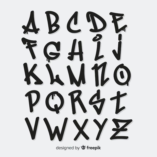 Alphabet Graffiti Vecteur Premium