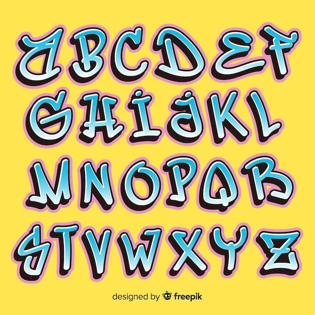 Alphabet Graffiti Vecteur gratuit
