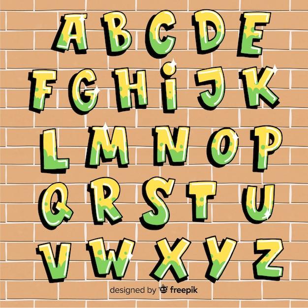 Alphabet graffiti Vecteur gratuit