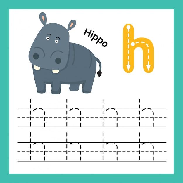 Alphabet h exercice avec illustration de vocabulaire de dessin animé Vecteur Premium