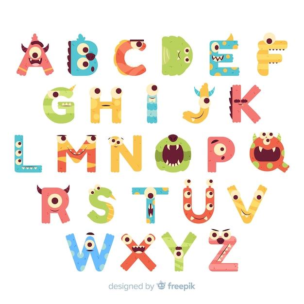 Alphabet halloween monstre avec des yeux drôles Vecteur gratuit