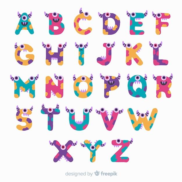 Alphabet halloween avec personnages drôles de monstres Vecteur gratuit