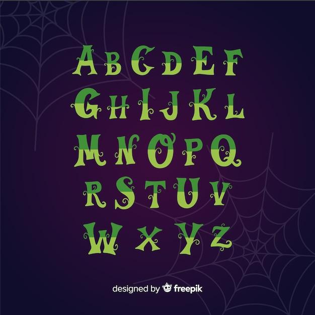 Alphabet d'halloween vintage Vecteur gratuit