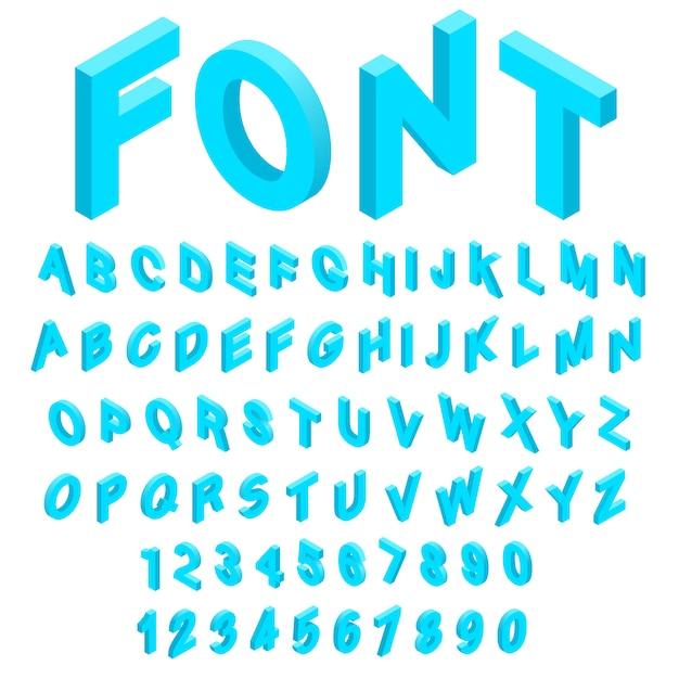 Alphabet avec icônes de nombres dans un style 3d isométrique. illustration vectorielle de la collection de polices anglaise Vecteur Premium