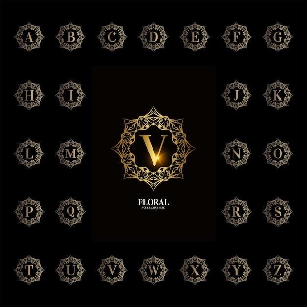 Alphabet Initial De Collection Avec Cadre Floral D'ornement De Luxe Vecteur Premium